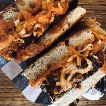 Focaccia Sandwich with Spaghetti Squash, Mozzarella, and Marinara