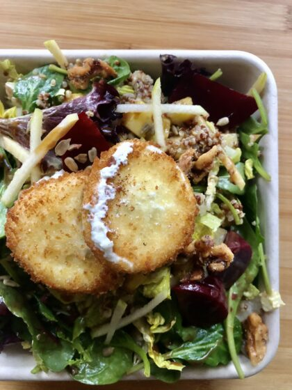 fried goat cheese on salad greens